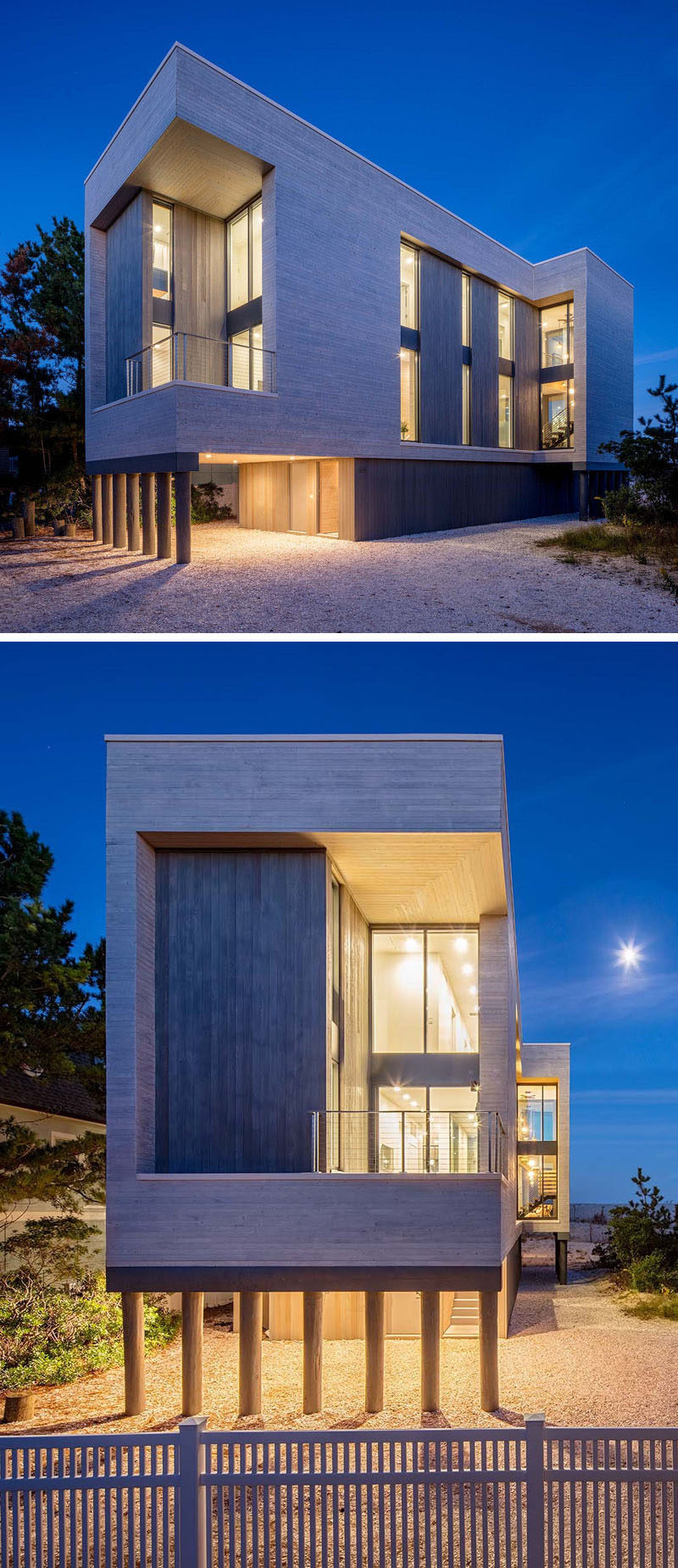 At night this modern beach house is lit up like a lantern with vertical windows allowing the light to shine through.