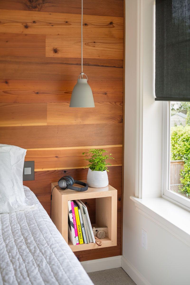Bedroom Design Ideas - Wood accent wall behind the bed with floating nightstand