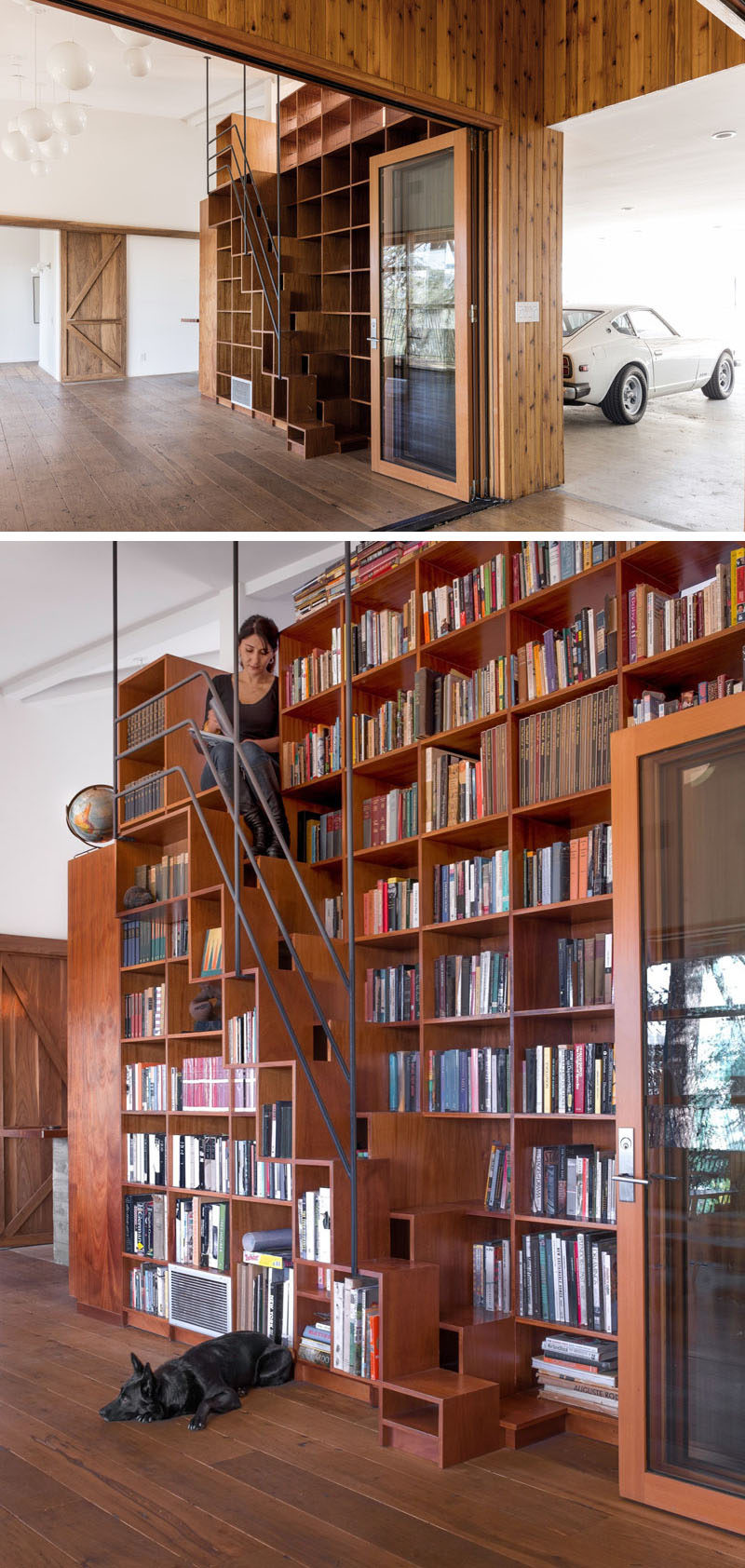 This contemporary home has a custom floor-to-ceiling bookshelf that has built-in stairs and a space to sit at the top.