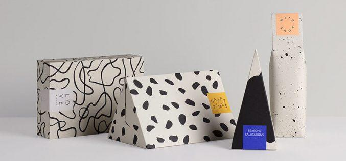 Эта новая коллекция подарочных коробок покрыты современной абстрактной конструкции