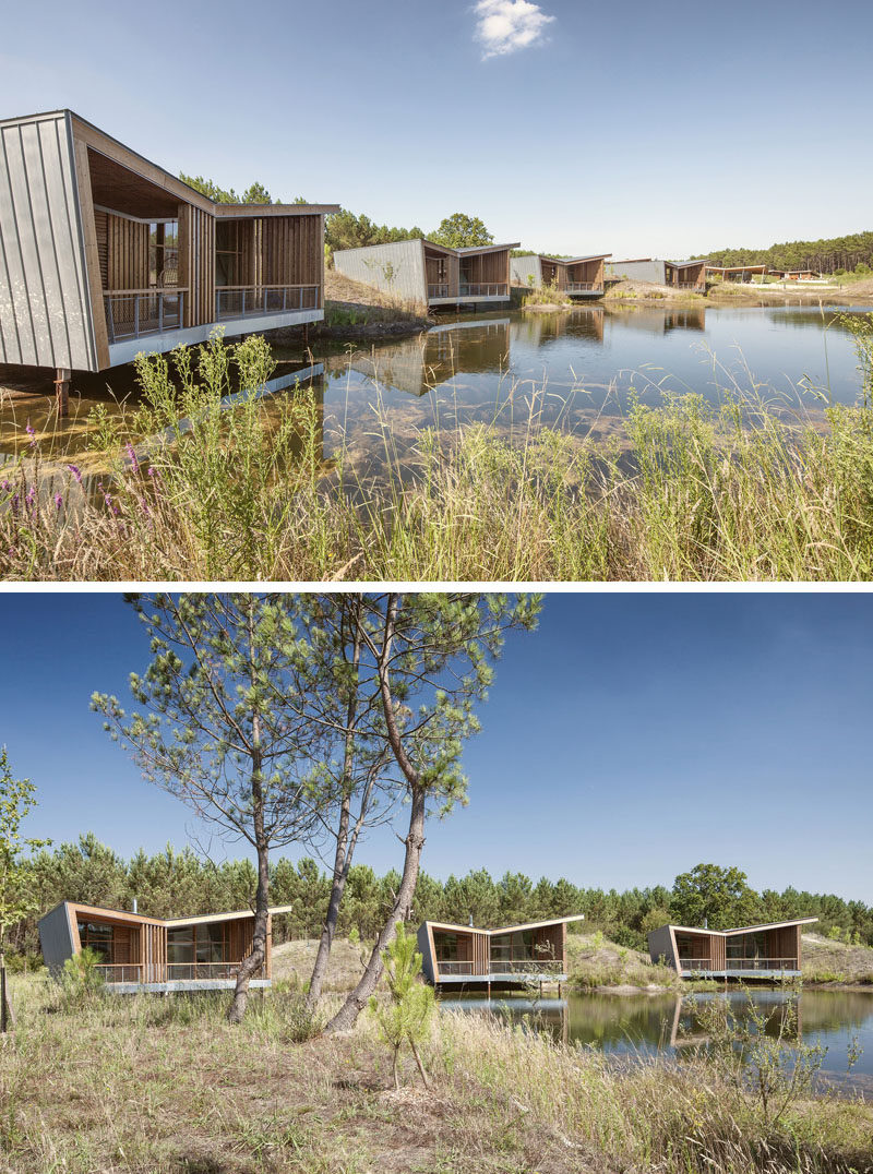 Each of the seven private villas at this eco-resort in France, have been built on stilts over the water and are large enough for two people.