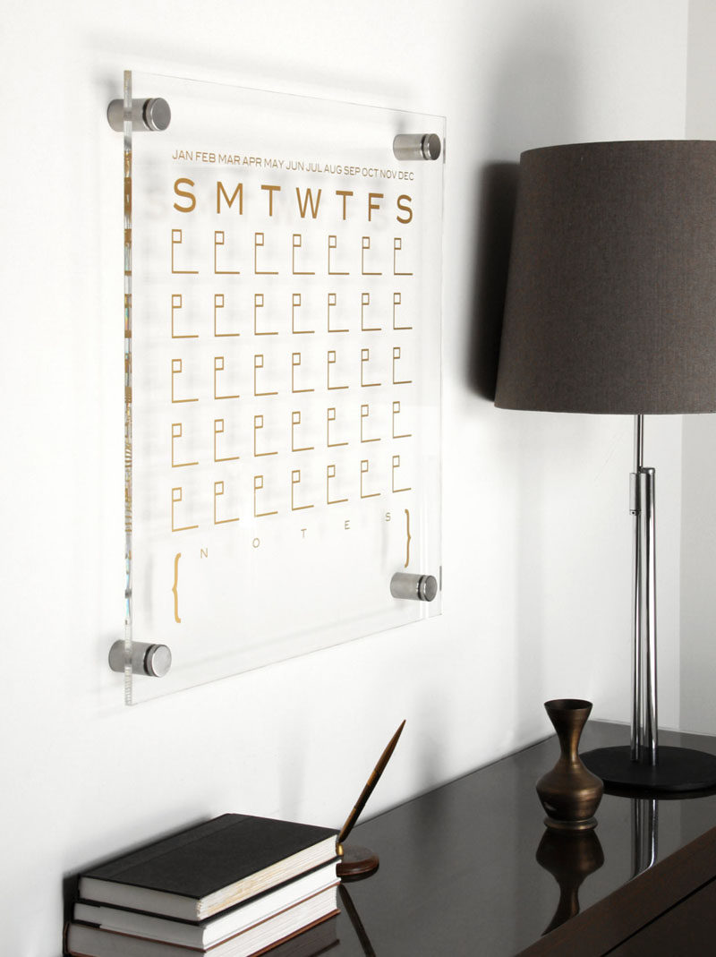 5 Ways To Use Acrylic Decor Throughout Your House // Home Office - Get organized with a acrylic calendar that can be reused every year.