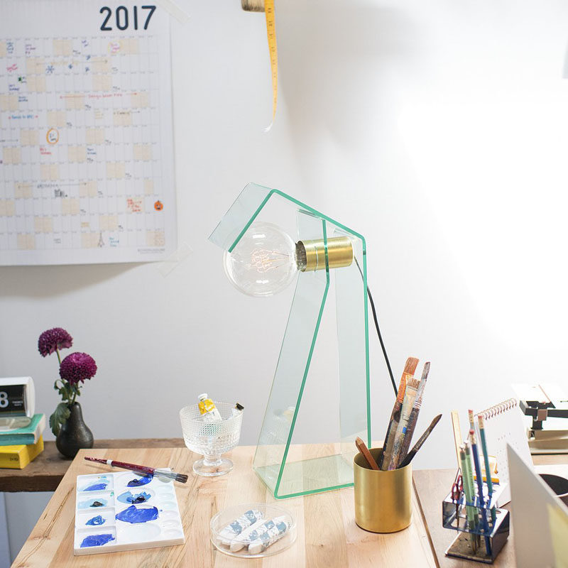5 Ways To Use Acrylic Decor Throughout Your House // Home Office - This acrylic desk lamp will keep your work area bright no matter what time of the day it is.