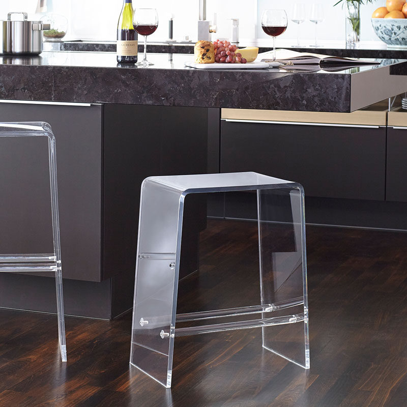 5 Ways To Use Acrylic Decor Throughout Your House // Kitchen - Bar stools typically don't take up much space but when they're made from acrylic, they appear to take up even less space.Bar stools typically don't take up much space but when they're made from acrylic, they appear to take up even less space.