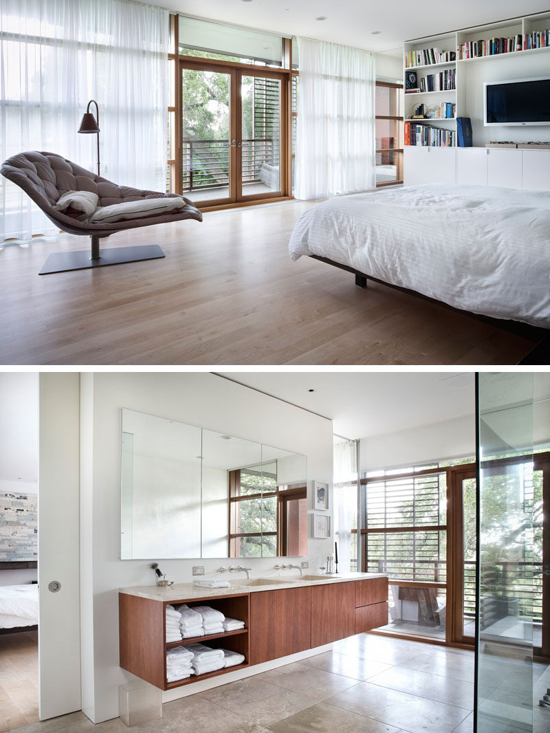 The master bedroom and bathroom in this modern home are able to access a small private balcony.