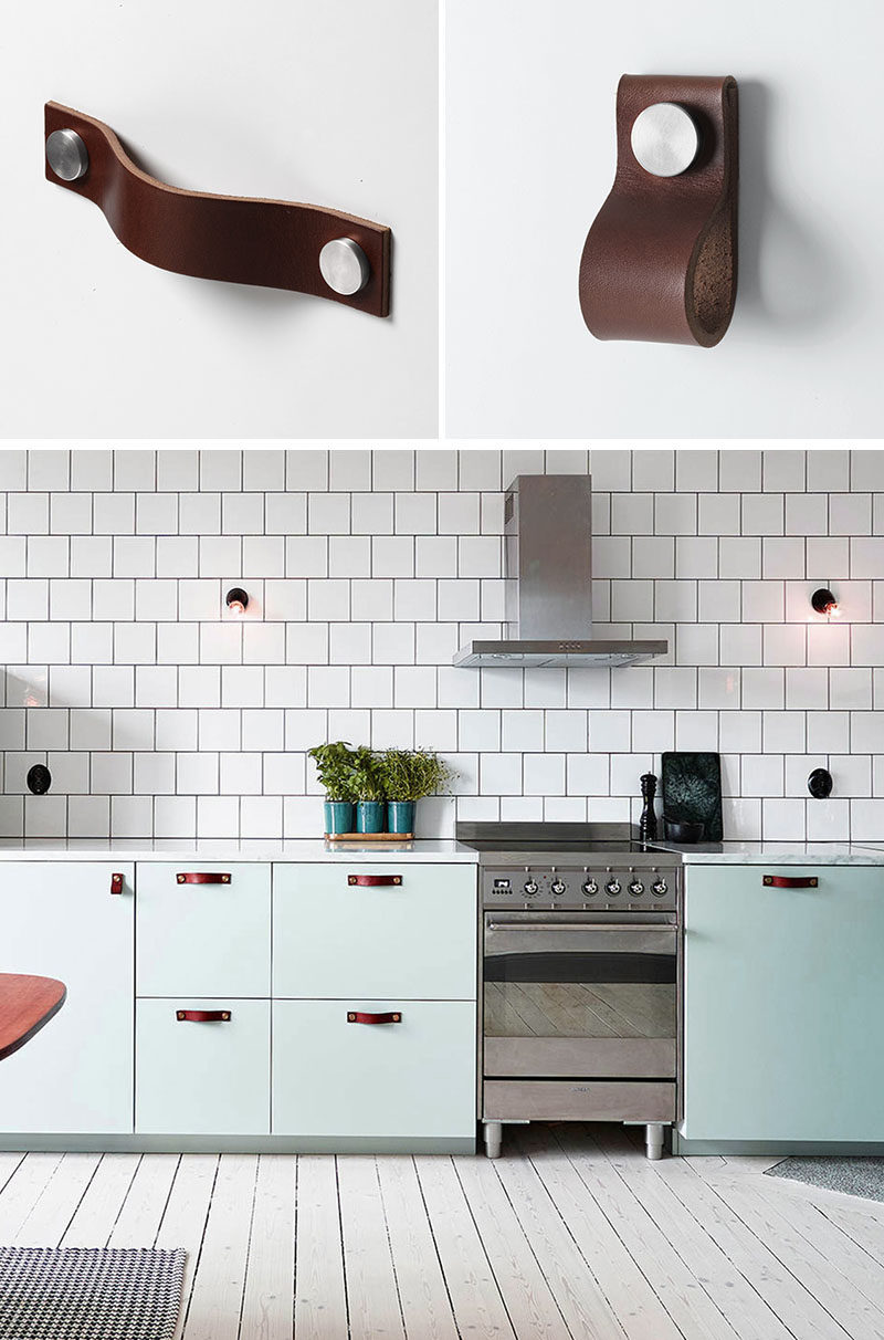 8 Kitchen Cabinet Hardware Ideas // Leather Handles and Pulls