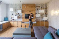 Этот интерьер квартиры наполнен творческим хранения и декора идеи