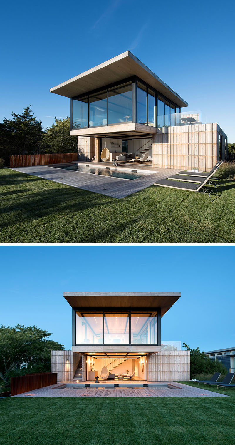 The steel structure of this home allows the upper living level to cantilever out and provides shade to the lower level.