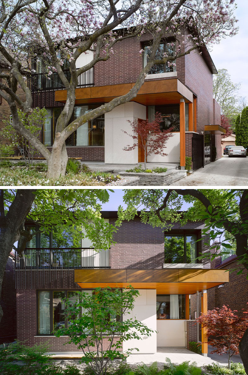 14 Modern Houses Made Of Brick // The bricks used on the exterior of this suburban home give it a timeless look that fits in with the other homes in the neighborhood and will help it age gracefully.