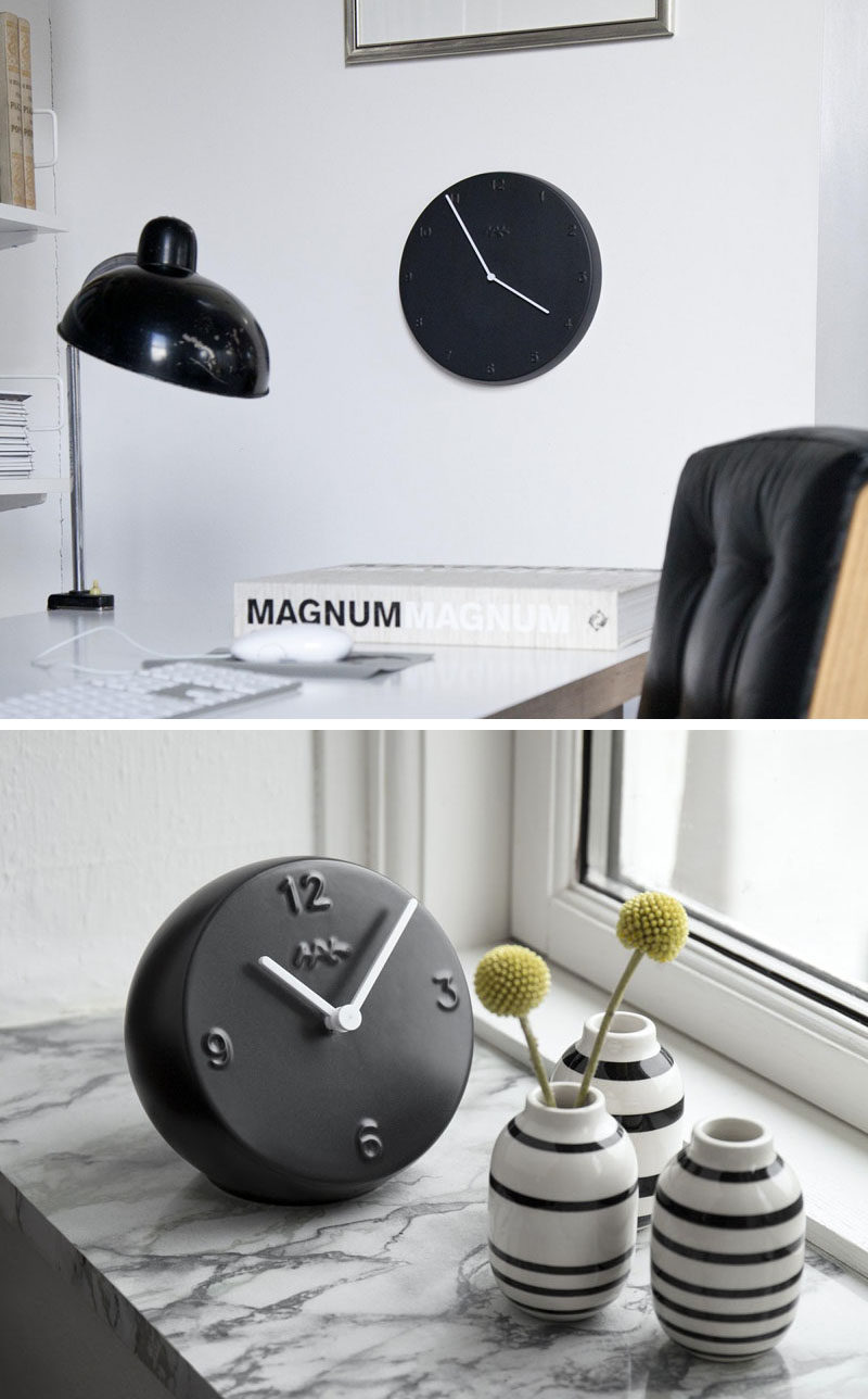 Home Decor Ideas - 6 Ways To Include Ceramic In Your Interior // These matte black clock will make sure you always keep your eyes on the time.