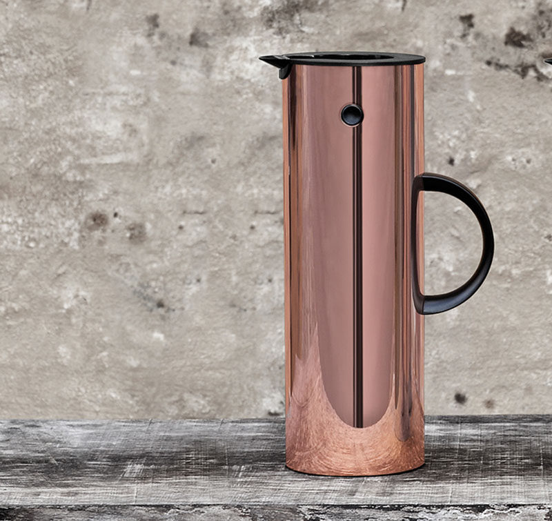 Kitchen Decor Ideas - 12 Ways To Add Copper To Your Kitchen // Keep hot drinks hot and cold drinks cold in this copper pitcher with a glass lining for perfect insulation.