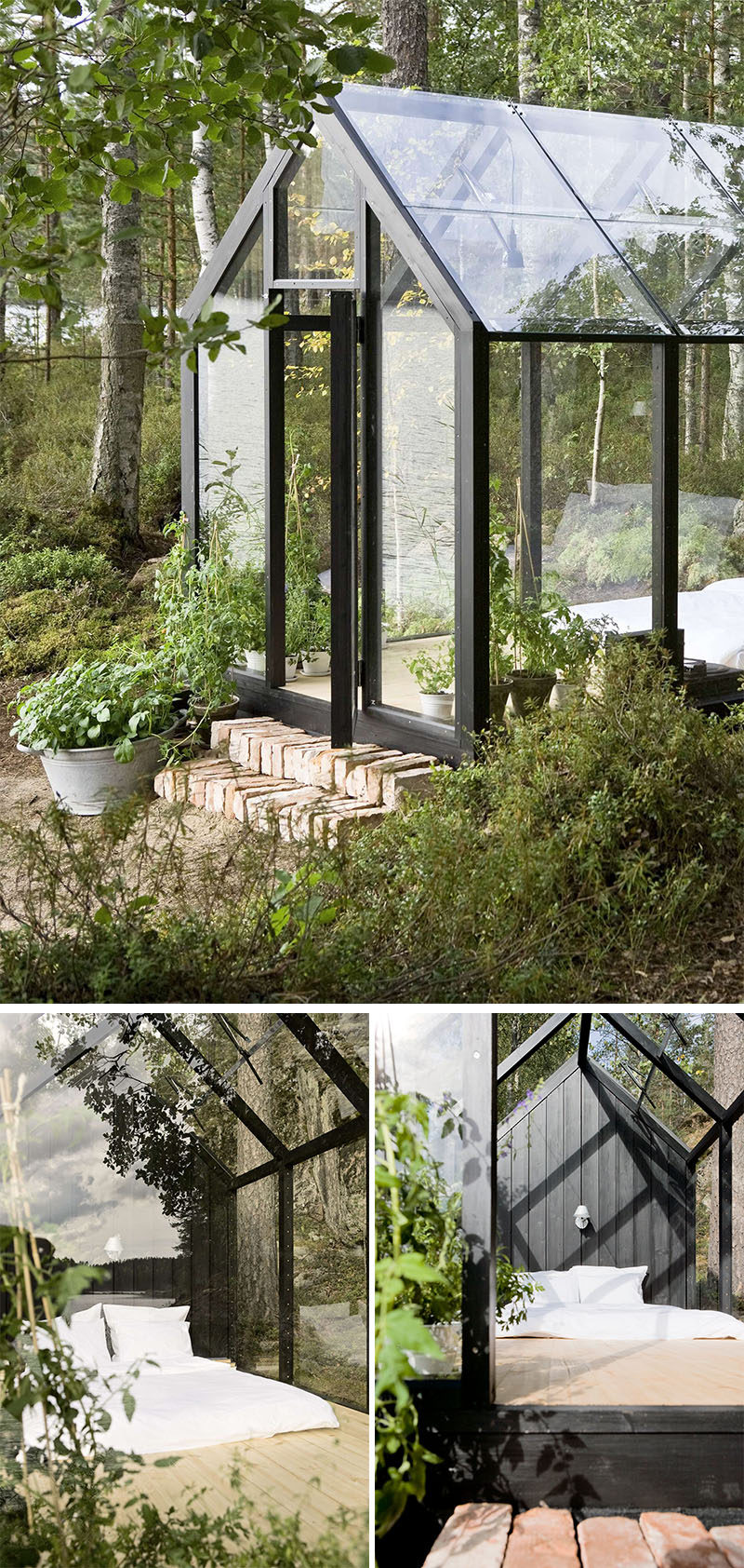 Ville Hara of Avanto Architects, together with Linda Bergroth, designed this modular greenhouse with shed that can be used as a bright garden oasis.
