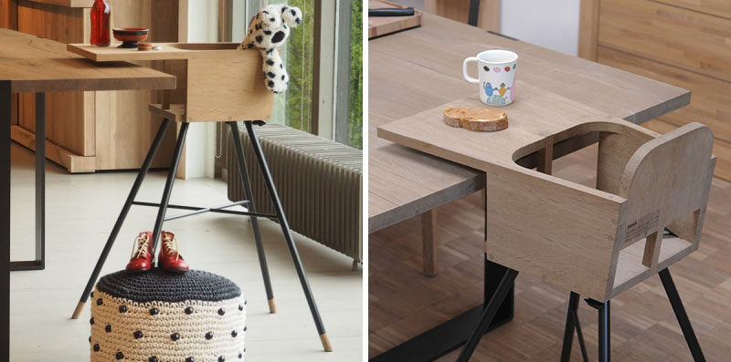 14 Modern High Chairs For Children // This minimal high chair, made from wood and steel, has an extra long tray to help keep a little less food off the floor.