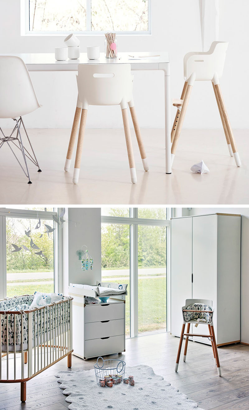 14 Modern High Chairs For Children // A simple white seat and beech wood legs give this high chair a timeless look, which is good because it can be adjusted as your child grows and is designed to last until age 12.