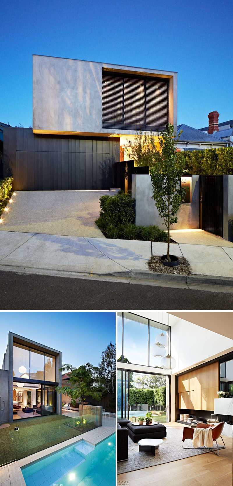 Celebrate Australia Day With These 14 Contemporary Australian Houses | Concrete, glass, and wood make up the majority of this Melbourne home, and work together to create a warm, inviting, and open space.