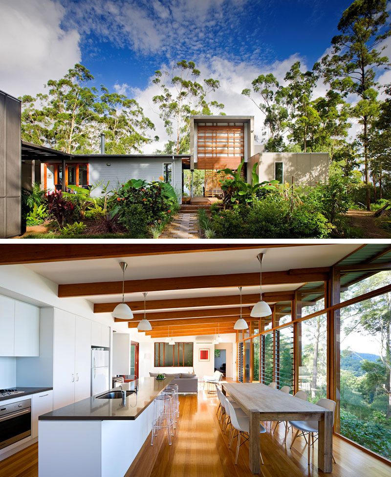 Celebrate Australia Day With These 14 Contemporary Australian Houses | Surrounded by lush greenery, this Queensland home makes the most of the landscape by having the back of the house covered in large windows that overlook the bush.