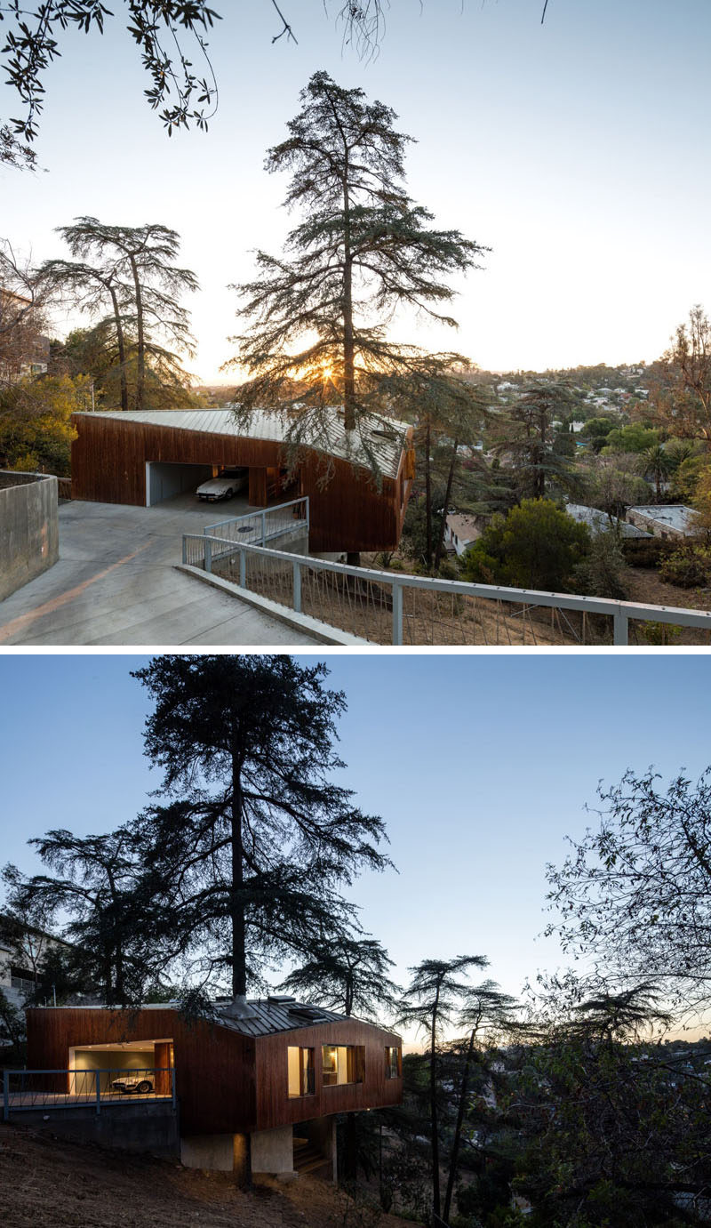 Anonymous Architects have designed this contemporary home in Los Angeles, that when designing it, the goal was to preserve as many natural features as possible. One way the designers were able to go this was by incorporating one of the mature trees found on the site, into the design of the home.
