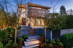Бруса Ламели Покрытия На Верхнем Этаже Этого Роскошного Дома В Ванкувере