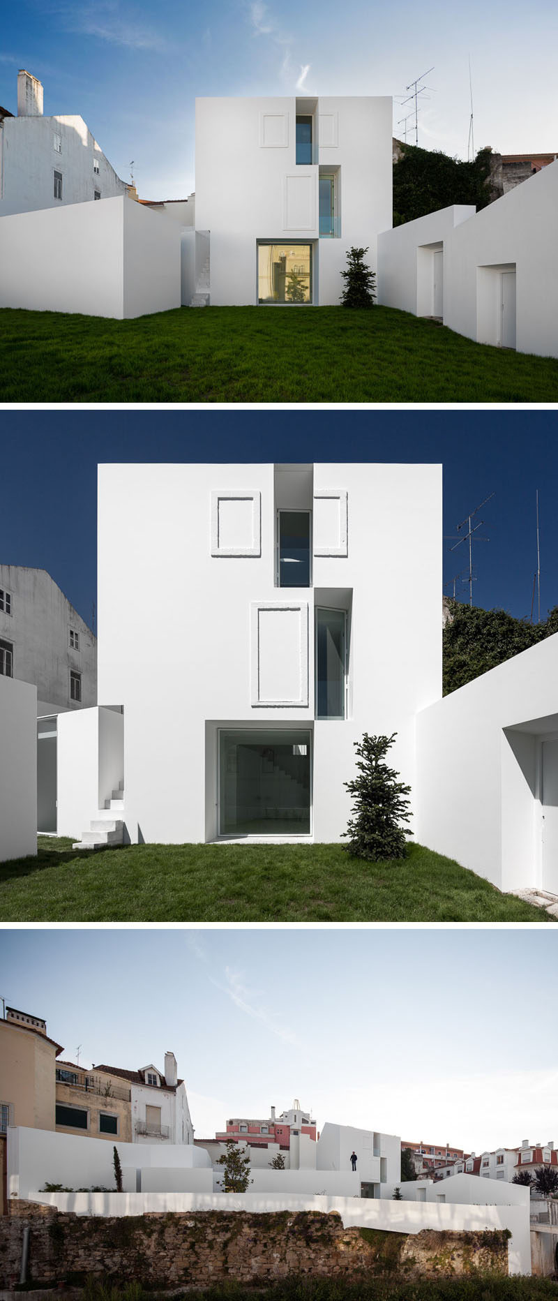 House Exterior Colors - 11 Modern White Houses From Around The World // The bright white exterior of this angular home gives it a clean look and sets it apart from the other houses around it.