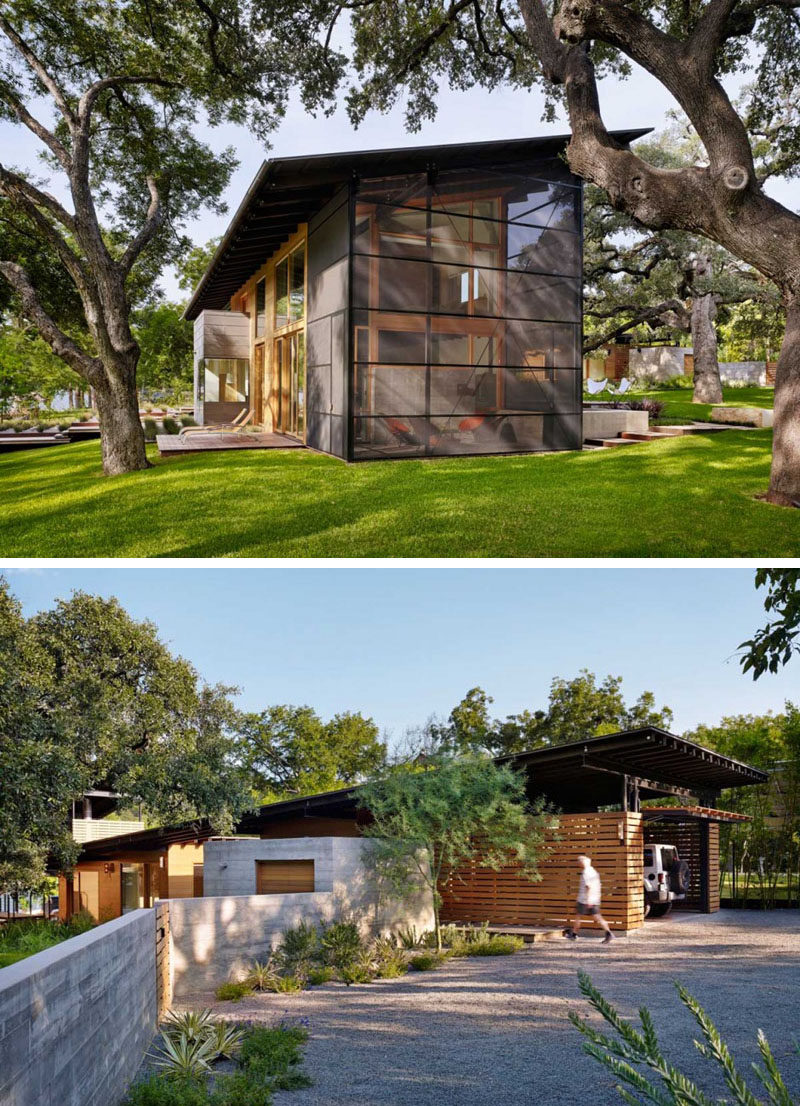 16 Examples Of Modern Houses With A Sloped Roof | The sloped roof on this modern house keeps the front of the home bright and provides slightly more privacy at the back.