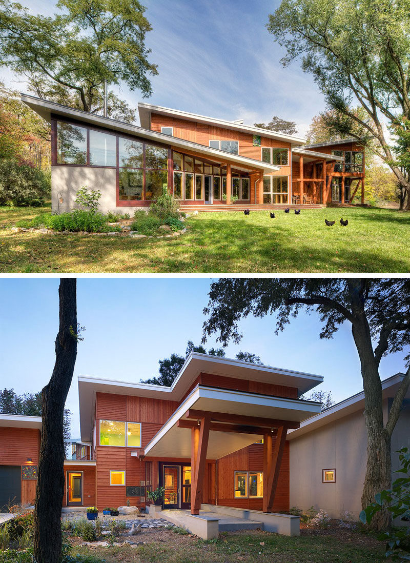 16 Examples Of Modern Houses With A Sloped Roof | The sloped roofs on this modern home were designed to take advantage of the path of the sun to maximize brightness, and to make the interior of the home feel bigger and brighter.
