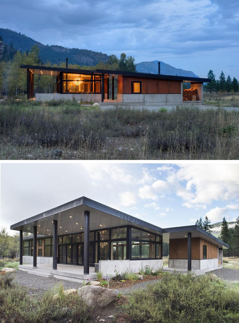 16 Examples Of Modern Houses With A Sloped Roof | The sloped roof on this modern house opens up the back patio and give it a large, airy feel perfect for hosting family and friends.