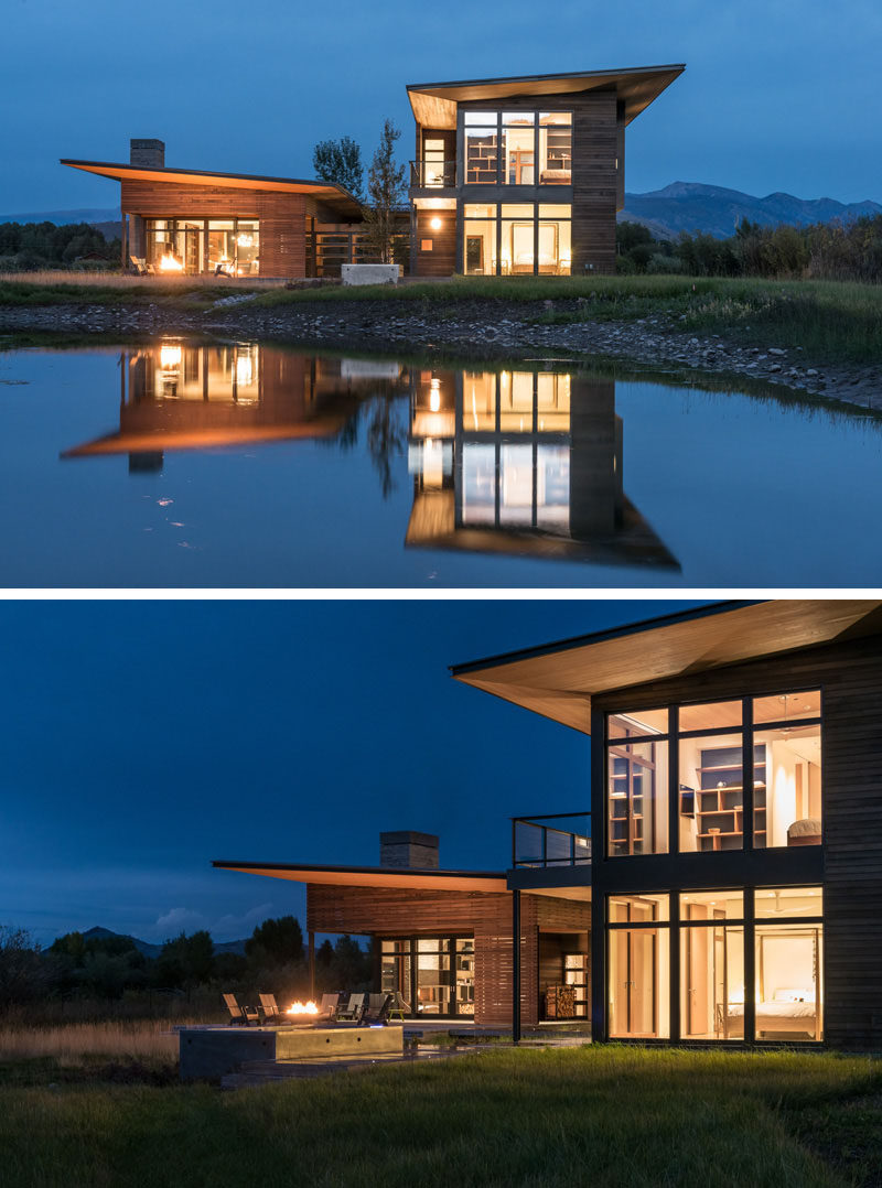 16 Examples Of Modern Houses With A Sloped Roof | To avoid the look of an overly classic mountain cabin, sloped roofs were used to create this modern mountain escape.