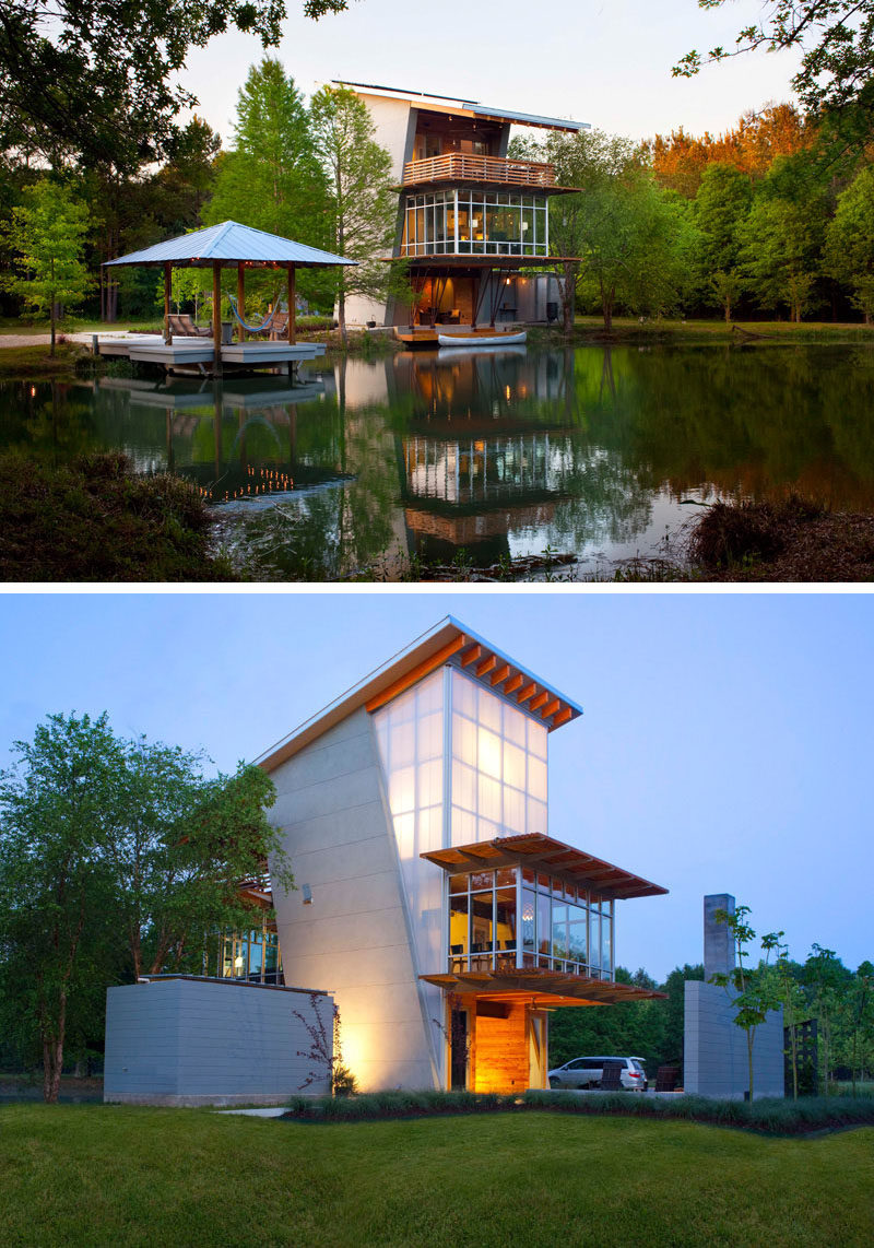 16 Examples Of Modern Houses With A Sloped Roof | The slope of the roof on this modern pond-side house allows the solar panels to take in as much energy as possible, and lets rain water fall back into the pond to help with drainage around the house.