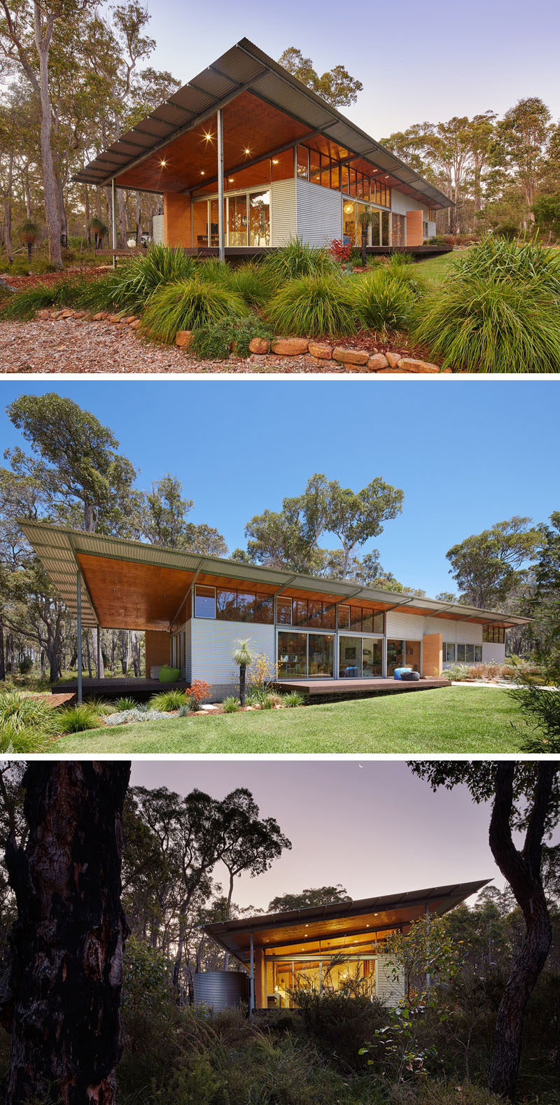 16 Examples Of Modern Houses With A Sloped Roof | This sloped roof on this modern house helps collect rain water and shields the interior of the home from the harsh Australian heat.