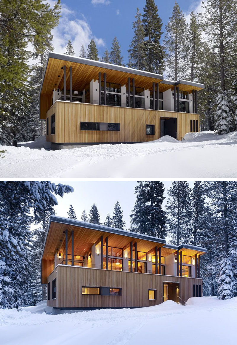 16 Examples Of Modern Houses With A Sloped Roof | The sloped roof on this modern house opens up the front of it to provide views of the landscape and allow as much natural light in as possible.