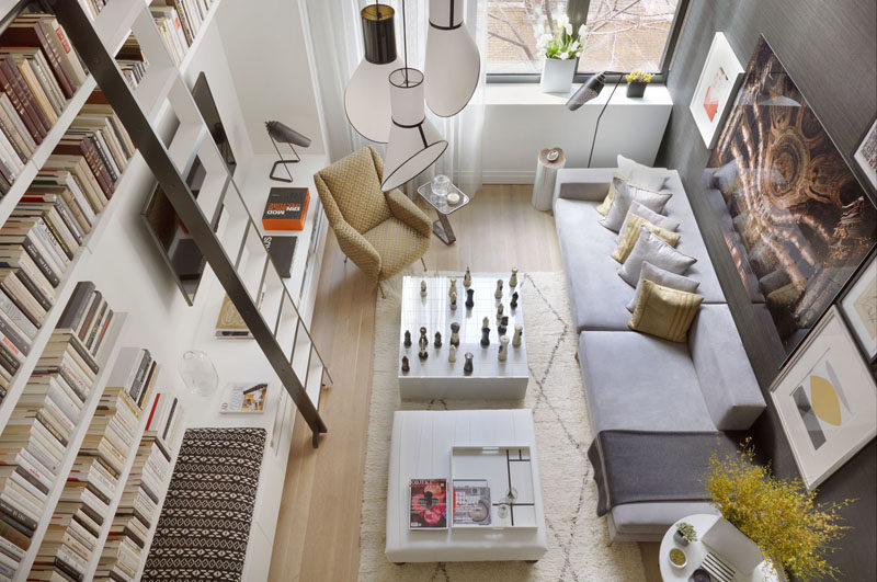 Interior Design Ideas - 17 Modern Living Rooms As Seen From Above | The angular furniture in this small living room has been softened up with the inclusion of natural elements the stump side table and plants scattered throughout the room.