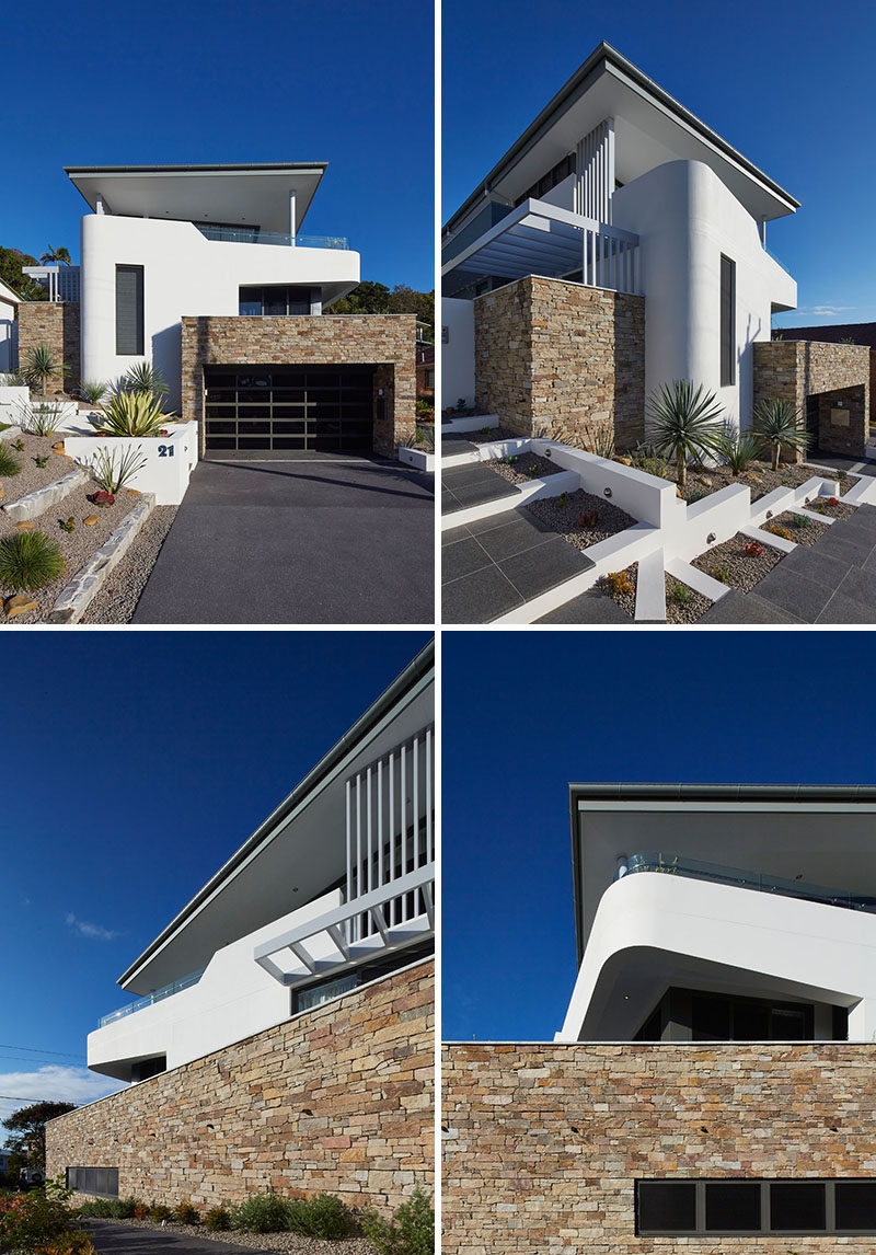 White washed facades and stone have been combined with low-maintenance landscaping to create a contemporary looking house.