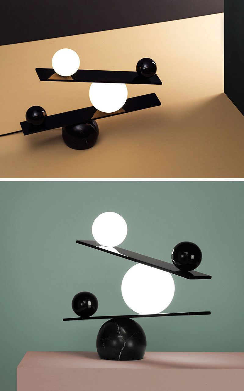 Unique Modern Lamp - The Balance table lamp, designed by Victor Castanera for manufacturer Oblure, is a lamp that creates a look of balance between dark and light, and black and white.