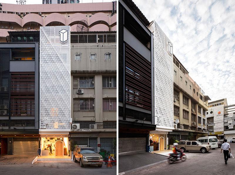 This modern hostel design in Bangkok, Thailand brings a fresh look to the street