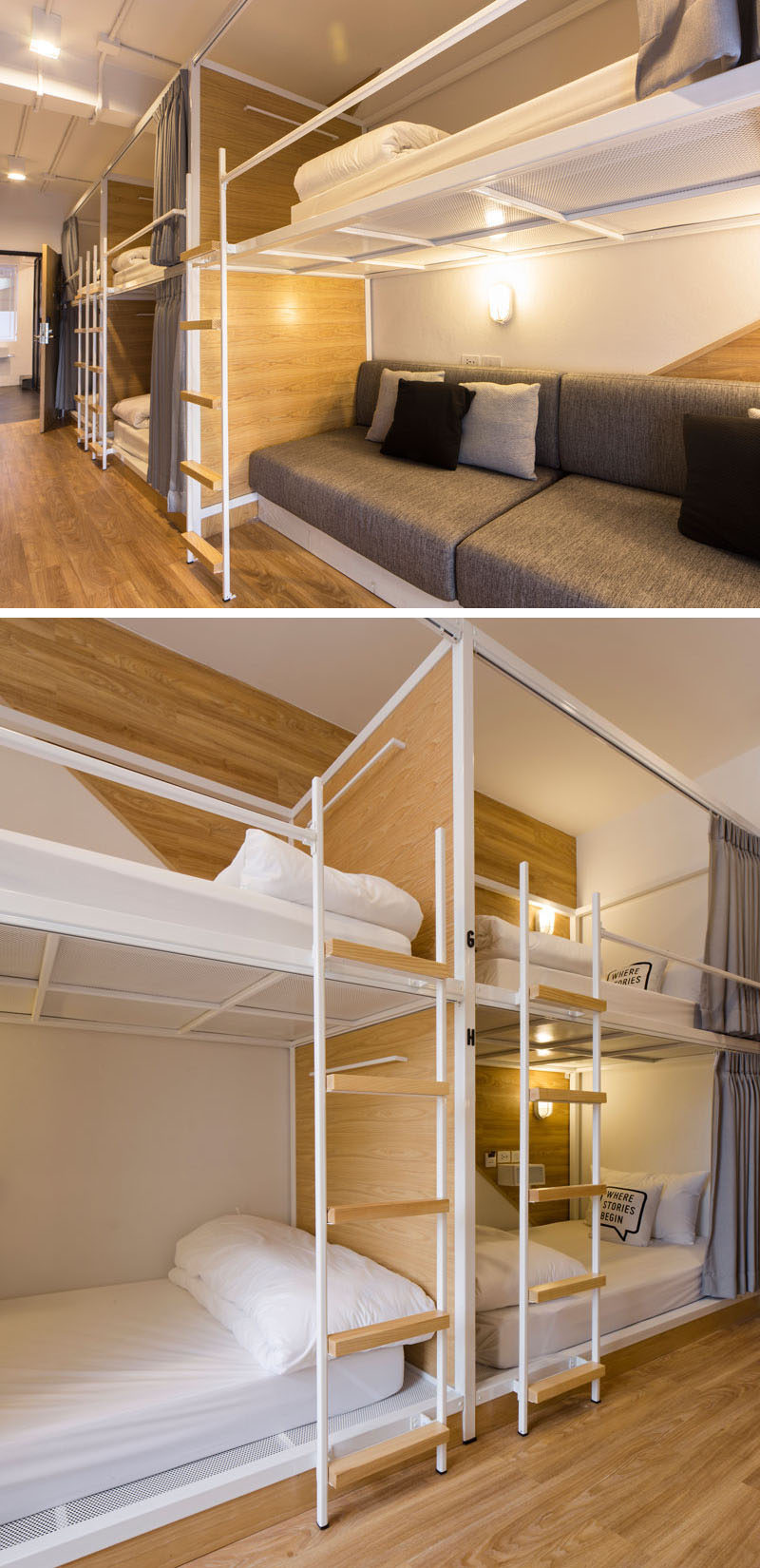 In this modern Bangkok hostel, the dormitory rooms have been set up with bunk beds, each with individual privacy curtains.