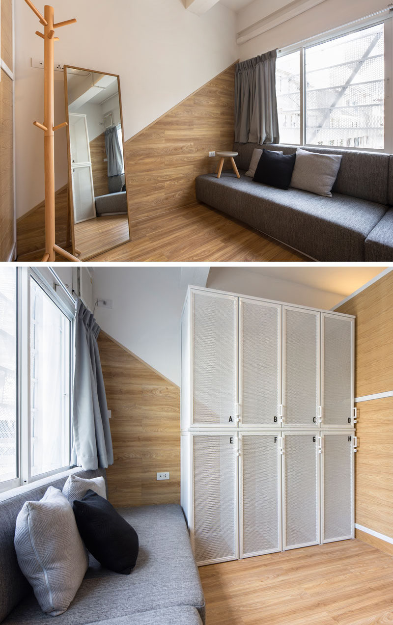 In this modern hostel in Bangkok, each dormitory has a small lounge area for relaxing and a locker for storing luggage.