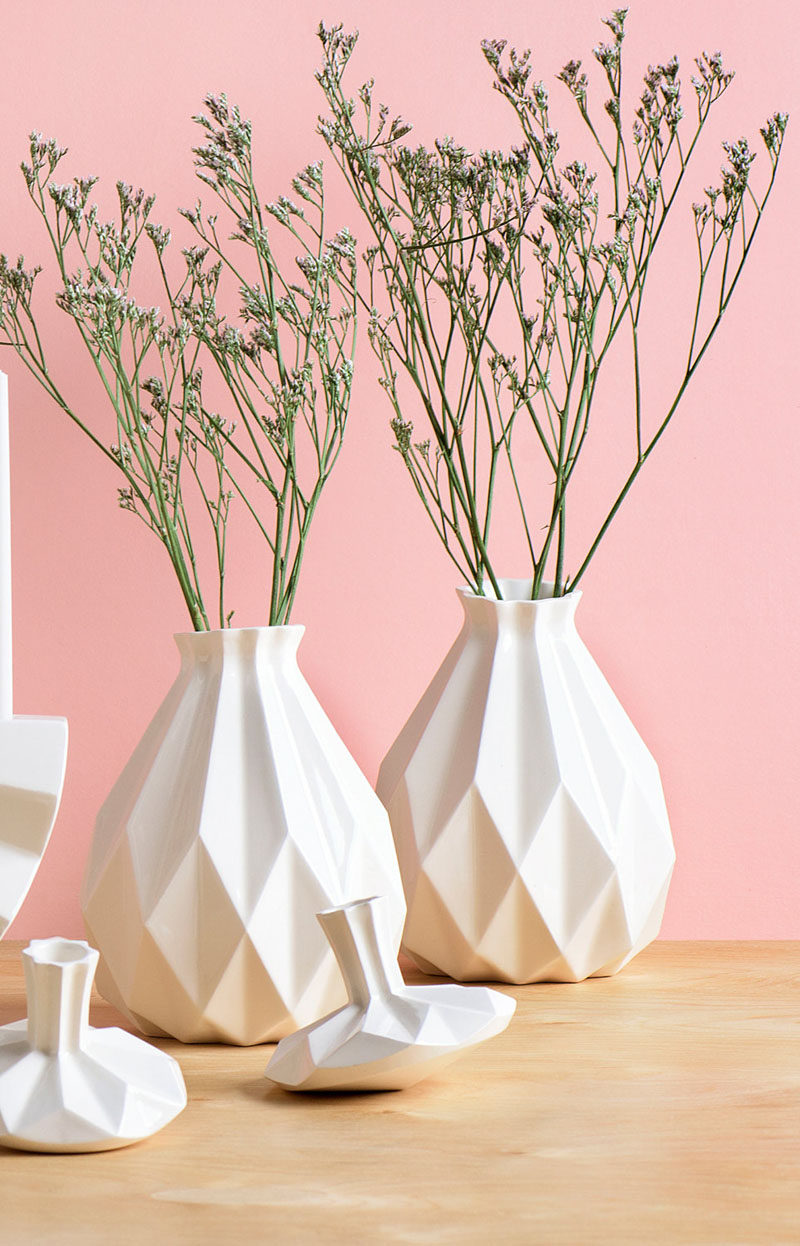 Home Decor Ideas - 6 Ways To Include Ceramic In Your Interior // These geometric ceramic vases add depth and dimension to your interior and create the perfect home for a bouquet of fresh flowers.