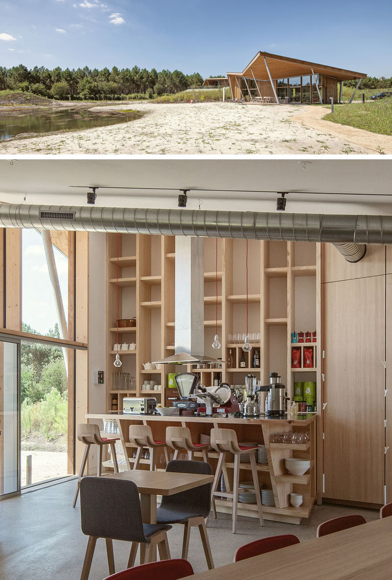 This restaurant at a French eco-resort has outdoor seating covered by the overhanging butterfly roof, and inside, there's more seating. The restaurant can also be transformed into a meeting room for business events.