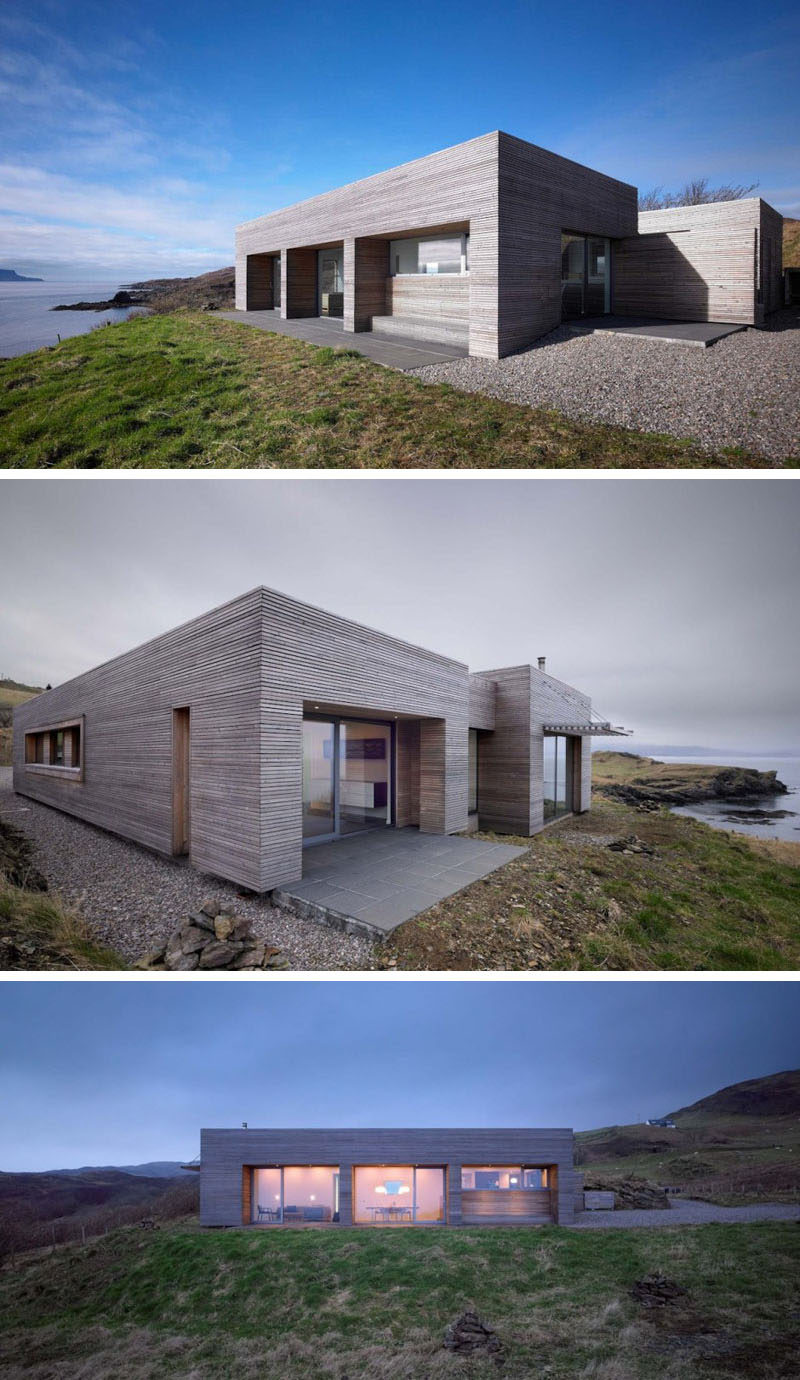 15 Single Story Modern Houses | This modest single story house overlooking the water is clad in light wood and has large windows to take advantage of the views of the landscape.