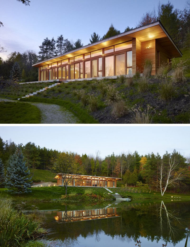 15 Single Story Modern Houses | Double height ceilings in this house make it appear larger while the single story layout makes it easy to maneuver.