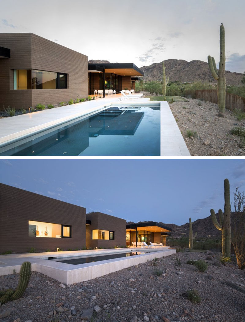 15 Single Story Modern Houses | This single story house fits right into it's earthy surroundings with rammed earth walls, while still looking modern and inviting.