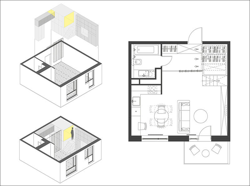 Small Apartment Design Idea - Raised bedroom allows for storage underneath