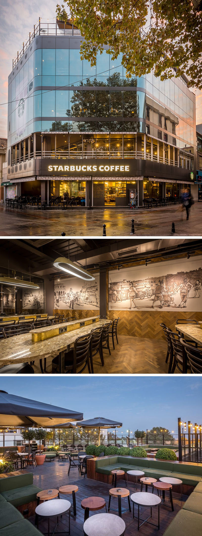 11 Starbucks Coffee Shops From Around The World // The four level location features a rooftop patio that looks out over Istanbul's Bosphorus Strait, and tall windows to allow those sitting inside to enjoy the views of the water and surrounding city.
