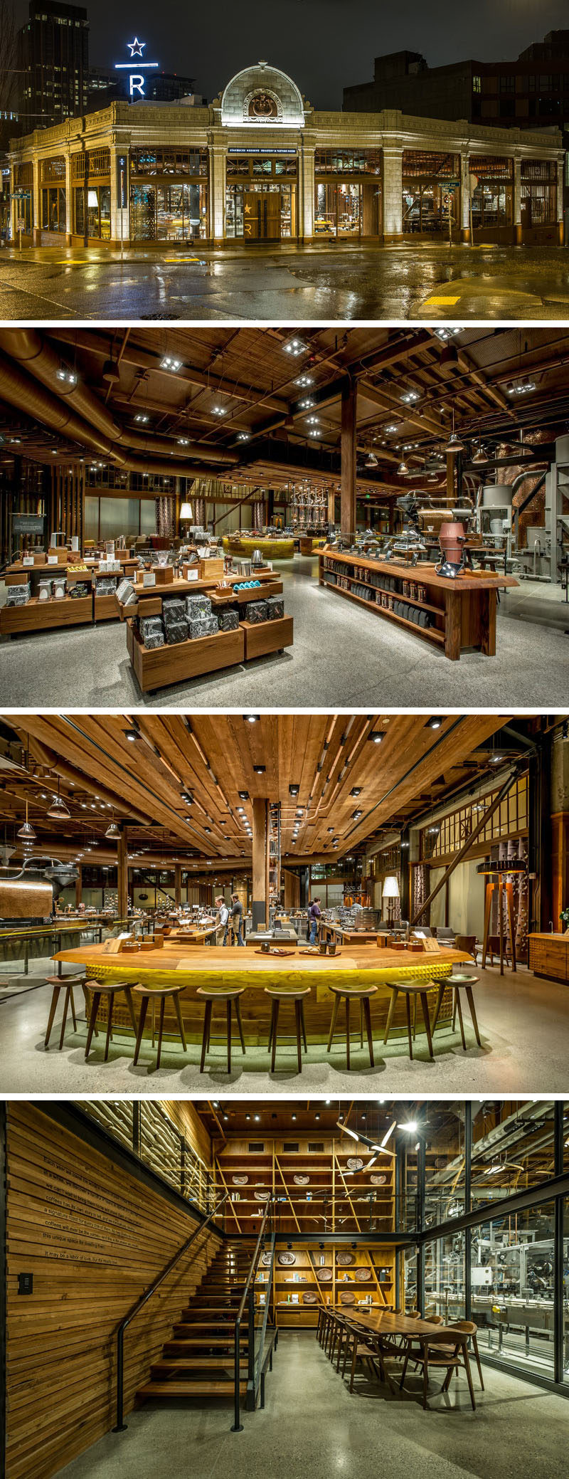 11 Starbucks Coffee Shops From Around The World // Starbucks' very own roasting and tasting facility, The Roastery, offers a unique experience unlike that of any other Starbucks location. Not only is the space huge and open, but guests at the Roastery are able to experience coffee in an immersive environment that allows them to engage with their coffee at every stage.