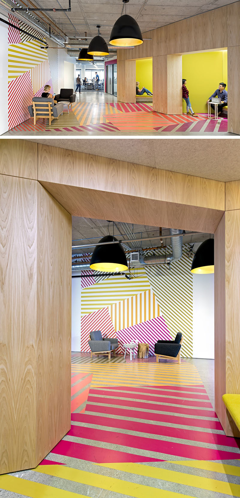 Interior Design Idea - This office design has a colorful geometric pattern that flows from the wall to the floor, and is inspired by the colors of the tulip fields in the Netherlands.