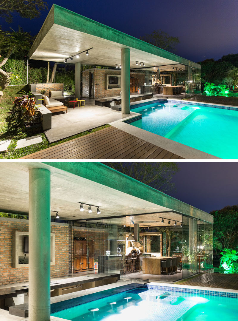 As this pool and pool house both have plenty of light, the entire area can be used at night for entertaining.