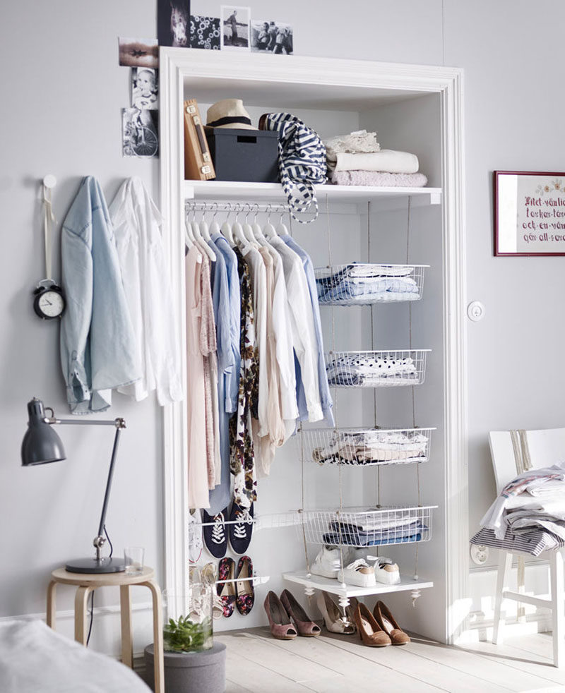 6 Bedroom Design Ideas For Teen Girls // Whether it's a dresser, a clothing rack, or built in closet organization, ample clothing storage is a must for any teen girl bedroom.