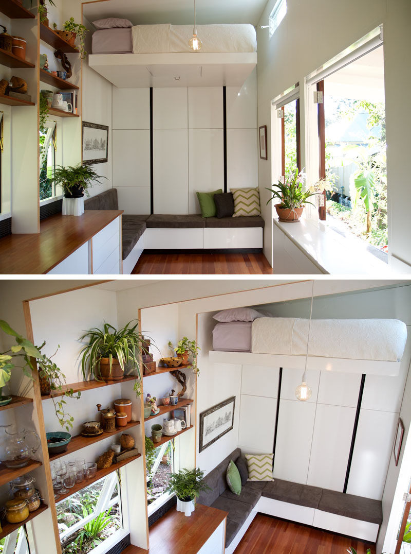 This custom designed tiny house has a small deck, a comfortable lounge, a kitchen with a fold out table, a retractable bed, a relaxing loft area.