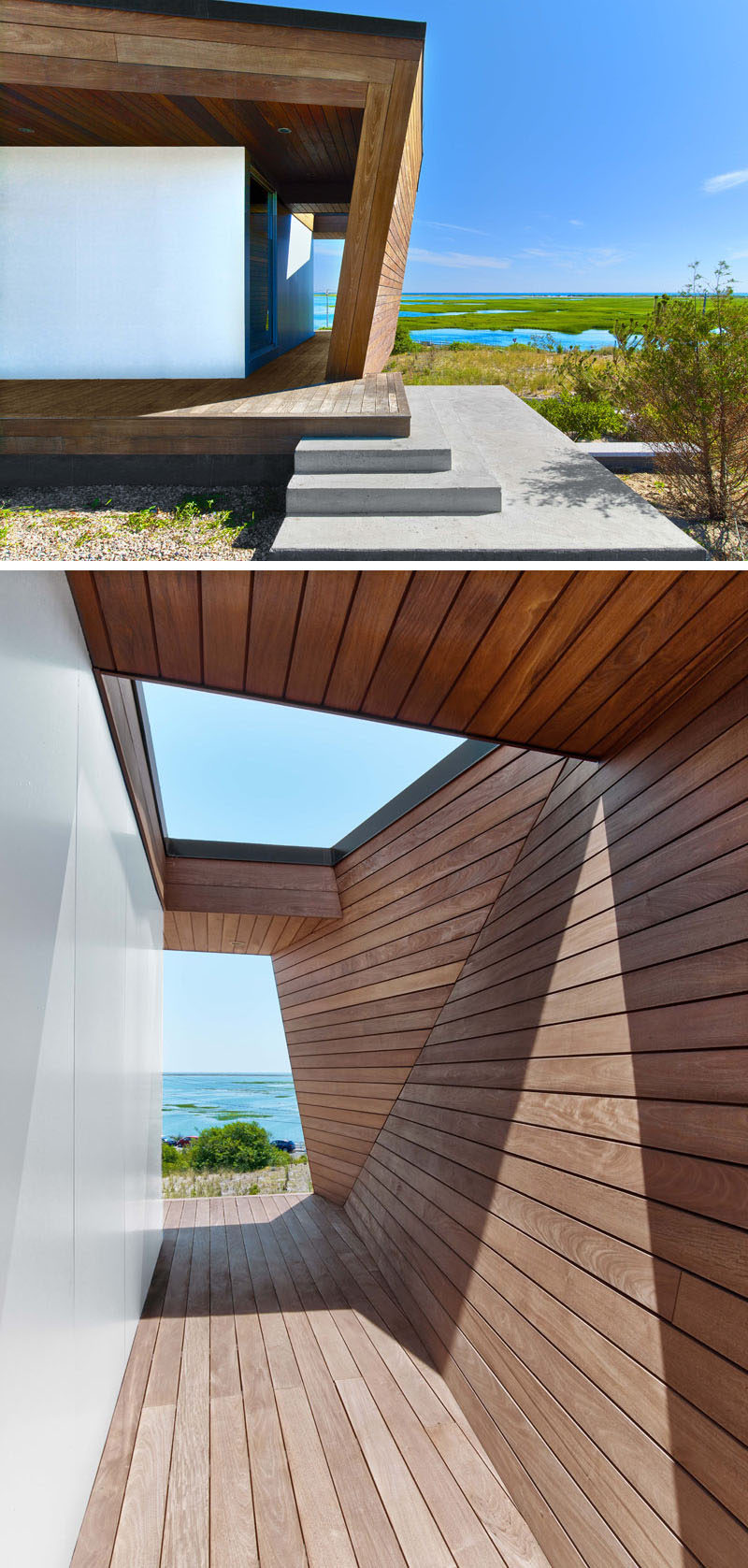 Welcoming you to this modern home is a one storey sculptural entrance wrapped in wood that takes inspiration from the faceted shape of rocks that are washed ashore on the beach.