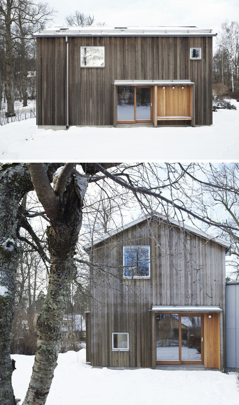 19 Examples Of Modern Scandinavian House Designs | This multilevel extension is covered in various types of wood siding for a natural look that's both modern and cozy.